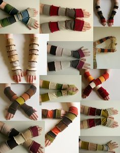 12 Arm Warmers Gloves Fingerless Mittens Upcycled by annawoz, $210.00