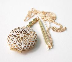 Filigree brass locket necklace