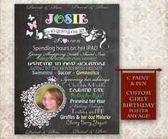 What a fun way to remember exactly what they were like at 'that age'! Tween Birthday Chalkboard  Girl Room Decor or Chalkboard Scrapbook Page! Visit http://www.PAINTandPEN.etsy.com for hundreds of designs and decor ideas!
