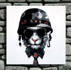 Handpainted Picture cool soldier wearing hat smoking Cat Abstract Animal Oil Painting Home Decoration wall art oil painting