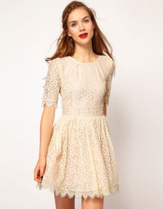 Darling Amelia Lace Skater Dress - Cream colored lace for Fall Pretty Outfits, Pretty Dresses, Beautiful Outfits, Gorgeous Dress, Feminine Mode, Looks Style, My Style, Estilo Fashion, Little White Dresses