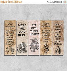50% SALE Printable Bookmarks , Alice in Wonderland quote , Bookmark set , Printable Quote Bookmark, Instant download, Reader Gift