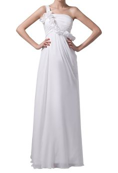 Crystal Dresses Women's A-Line One-Shoulder Flowers Chiffon Dress ^^ Can't believe it's available, see it now : Wedding Dresses