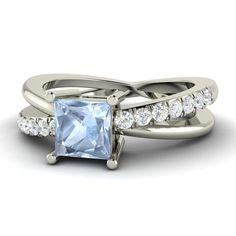 Princess Cut Natural Aquamarine & Diamond Engagement Ring in 18k White Gold   eBay