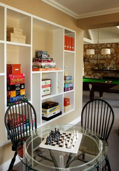 Tips To Create Wonderful Game Room Ideas For Your Kids : Astonishing Game Room Ideas With Built In Shelves And Custom Shelves Plus Chess Board Also Pendant Lighting With Windsor Chairs