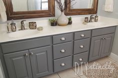 Mark Twain House Ombra Gray - DIY Painted Bathroom Cabinets | DIYstinctlyMade.com