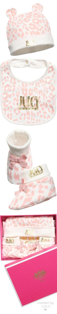JUICY COUTURE Baby Girls Bib, Hat & Bootees 3 Piece Gift Set | LOLO❤