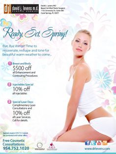 Spring will be here soon which means that it's time to rejuvenate, reshape, and tone. Take a look at our March specials and call us for a free consultation today!