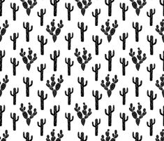 Cactus - Black and White by Andrea Lauren fabric by andrea_lauren on Spoonflower - custom fabric