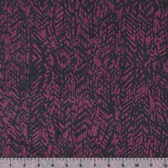 6098 Black Abstract Vines on Sangria Cotton Spandex Knit Fabric
