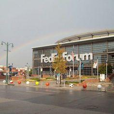 #Rainbow over the Fedex Forum. #Memphis.