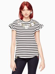 d54b00b7e48d ShopStyle Collective Embroidered Flowers, Short Sleeve Tee, Off White, Kate  Spade, Wardrobe