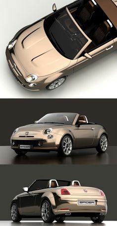 Fiat 500 Spider by David Obendorfer - Design Miss Alfa Cars, Fiat Cars, Alfa Auto, Fiat Panda, Fiat 500 Cabrio, Fiat 124 Spider, Fiat Abarth, Car Mods, Ferrari