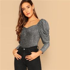 Party Silver Gigot Sleeve Sweetheart Neck Ruched Glitter Top Blouse 2019 Spring Women Long Sleeve Tops Blouses Silver L Source by giussergio 2019 Leg Of Mutton Sleeve, Black Cropped Pants, Glitter Top, Plaid Mini Skirt, Looks Style, Blouse Designs, Long Sleeve Tops, Casual Outfits, Shirt Sleeves
