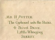 The Cupboard under the Stairs, 4 Privet Drive, Little Whinging, SURREY