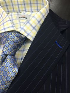 Navy pinstripe b.spoke suit made with Gladson fabric. Get yours at www.bspokestyle.com