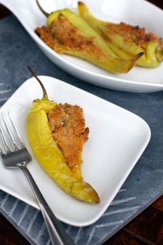 Stuffed Banana Peppers, made with a simple cheese and breadcrumb filling and baked. Quick, easy and suprisingly very flavorful!