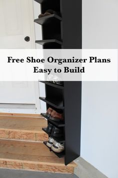 The garage shoe organizer is finished finally. Check it out!  Free plans too!