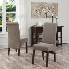 Simpli Home Avalon Fabric Parsons Chair & Reviews | Wayfair  (set of 2...comes in brown or cream....not chenille)