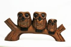 Hand Carved Wooden Owls, 3 Owls on a Branch, Home & Office Decor, Cute Birds