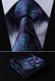 Dark Cross Wind Paisley Tie and Handkerchief