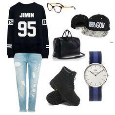 Kpop inspired outfit Jimin BTS sweater boyfriend jeans Gucci Eyeglasses Saint Laurent Duffle 24 bag GDragon snapback Daniel Wellington Classic Swansea Black Timberland shoes