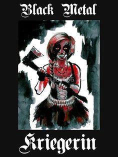 Black Metal Kriegerin - Female Black Metal Warrior. Corpsepaint girl with axe.
