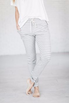 Breakout Loungers - Grey \\ striped pants, comfs, joggers, loungers, must have, jammies, striped joggers, boutique, ootd, cute pants