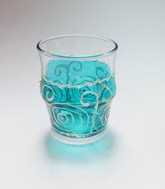 Bathroom Glass Holder, Glass Bowl Decor, Blue Glass Candle Holder, Blue Painted Glass, Blue Bathroom Lights, Blue Glass Bowl by MariGlassAtelier on Etsy