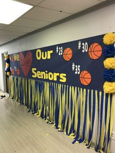 We love our seniors basketball night! We love our seniors basketball night! Basketball Signs, Basketball Decorations, Basketball Posters, Locker Decorations, Basketball Cupcakes, Volleyball Posters, Basketball Quotes, Basketball Drills, Sports Basketball