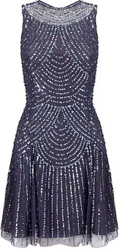 Aidan Mattox Beaded Cocktail Dress, Pewter on shopstyle.co.uk