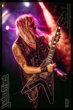 Richie Faulkner of Judas Priest with his D'Haitre' Stealth V.