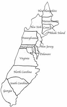 13 Colonies Fill in the Blank Activity - A Printable From ...Black And White Delaware Colony Map