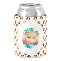 Thanksgiving Turkey Pattern Custom Photo Can Cooler