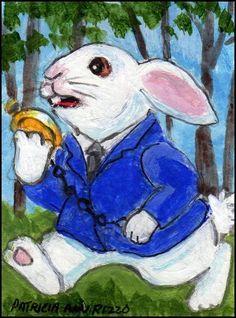 NFAC ACEO Original Feb. White Rabbit Late for a Date - Patricia Ann Rizzo #Miniature