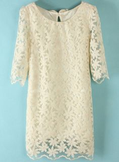 Beige Half Sleeve Back Bow Lace Dress - Maybe for later games?