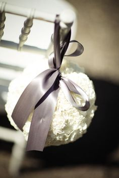 Love the white pomander with grey ribbon! May have finally found my wedding colors!