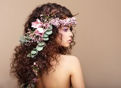 woman wearing pink floral headdress long hair curly hair bare shoulders flower in hair simple background Valentines Day Photos, Valentines Flowers, Floral Headdress, Female Profile, One Hair, Simple Backgrounds, Videos, Illustration, Curly Hair Styles