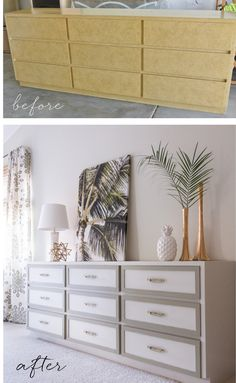 dresser makeover: lattice trim, paint & hardware