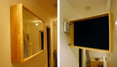 Tips for camouflaging thermostats, radiators, and air conditioners - DIY hinged mirror.