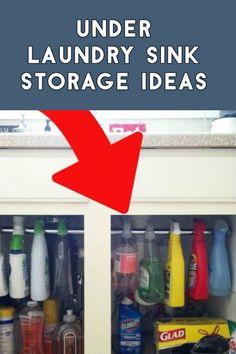 Under Laundry Sink Storage Ideas Storage Hacks, Diy Storage, Storage Solutions, Storage Ideas, Small Laundry Rooms, Small Rooms, Small Spaces, Creative Storage, Declutter