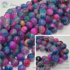 Faceted Round Beads - Mixed Color Crack Agate 4mm ,6mm,8mm,10mm