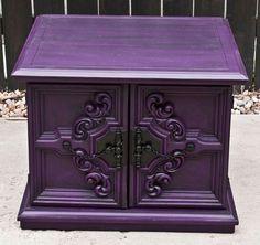 Brilliant Purple Home Decor Ideas Picture 14 - Awesome Indoor & Outdoor Purple Home, Deep Purple, Purple Gray, Bright Purple, Shabby Chic Furniture, Painted Furniture, Painted Hutch, Rustic Furniture, Vintage Furniture