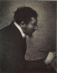 Drawing by Georges Seurat, 1883, Portrait of Edmond Aman-Jean (1858-1936).