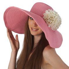Luxury Lane Luxury Lane Women s Pink Floppy Sun Hat with White Flower Floppy  Sun Hats 39f203a583da