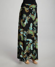 This Black & Green Paisley Maxi Skirt is perfect! #zulilyfinds.........I LOVE PAISLEYS  (I'm an 80's girl!!!)