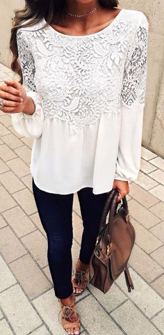 WOMEN'S FASHION TRENDS 2017! Great deals on amazing fashion!  Beautiful boho long sleeved white lace top. Skinny jeans and brown bag. This outfit is great for Spring, Summer or Fall.  Women's fashion trends! *affiliate