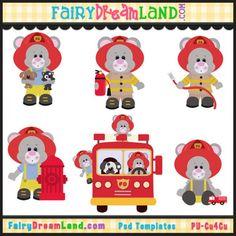 Fireman Mice CU Template Collection by FairyDreamLand.com