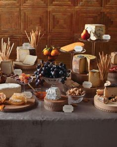 An abundant buffet is a great way to ensure everyone gets what they want, but it also creates an appetizing focal point. One tasty buffet option is a cheese station with an array of mild and strong flavors, different textures, and cheeses made with goat, cow, and sheep milk. Add labels so guests know what they're diving into, then pair them with breads, fruits, and nuts.