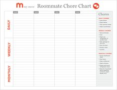 chore list for roommates Kenicandlecomfortzonecom